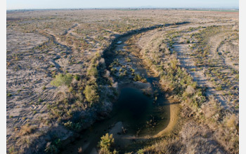 Photo of the Colorado River which runs dry two miles below the Morelos Dam.