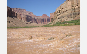 Photo of Grand Canyon wall near the confluence of the little Colorado River and the Colorado River.