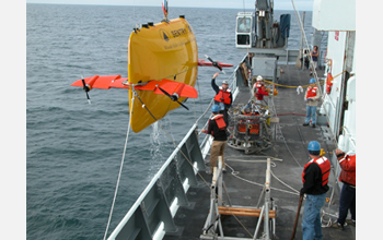 Photo of Sentry, an autonomous undersea vehicle, was used for the first time this month.