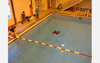 Researchers use the diving facility at Vassar College to test Madeleine's performance.