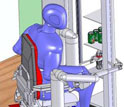 Computer simulation of a disabled person piloting the robotic mobility and manipulation system.
