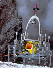 Photo of the legged robot Dante II, which explored and sampled an active volcano.
