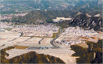 Aerial photo of affluent suburbs in Southern California.