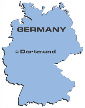 Map indicating Dortmund, Germany