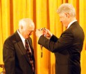 Eli Ruckenstein receives the Medal of Science from President Clinton.