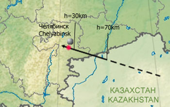 Map showing the trajectory of the meteor as it neared impact in Russia.