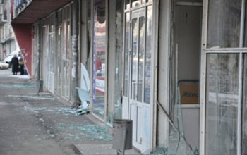 Stores with shattered windows from the meteor that crashed in eastern Russia.