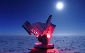 Image of the South Pole Telescope in Antarctica.