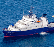 R/V Sally Ride underway in the Pacific Ocean.