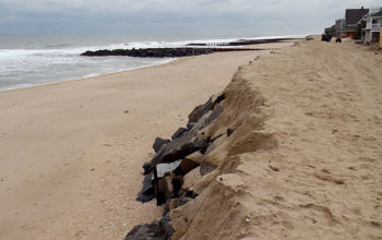 Seawall dating to 1882 by the beach in Bay Head, N.J.