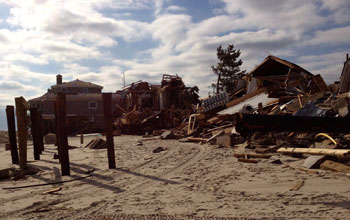 Houses next to the ocean destroyed by Sandy in Mantoloking, N.J.