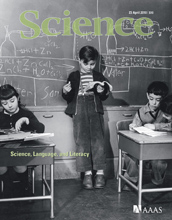 Cover of the April 23, 1010, issue of the journal Science.