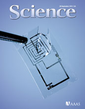 Cover of the September 28, 2012 cover of the journal Science.