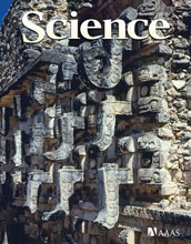 Cover of the journal Science showing detailed stone sculptures.