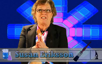 Photo from a video of Susan Eriksson discussing her art