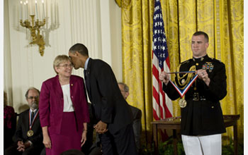 Photo of Joanna Stubbe receiving the National Medal of Science from President Barack Obama.