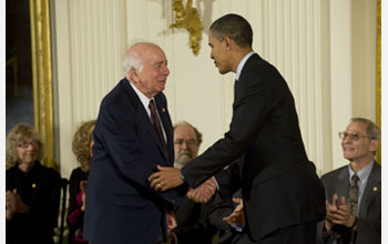 Photo of Berni Adler receiving the National Medal of Science from President Barack Obama.