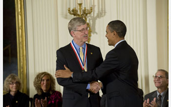 Photo of Francis Collins receiving the National Medal of Science from President Barack Obama.