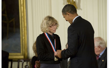 Photo of Joanna Fowler receiving the National Medal of Science from President Barack Obama.