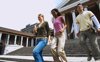 Image of three students at a university