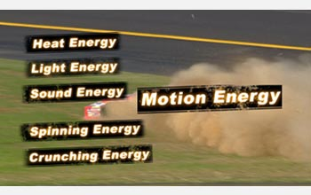 Text and photo: Heat, Light, Sound, Motion, Spinning and Crunching Energy.