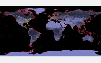 Global sea level likely to rise as much as 70 feet in future map of the world showing areas in red inundated by a future sea level rise of gumiabroncs