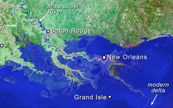 As sea level rises, the coast of Louisiana begins to go underwater.