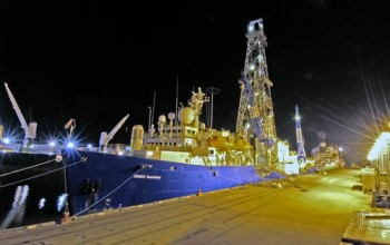 The drillship <i>JOIDES Resolution</i> at the dock in Mobile, Ala.