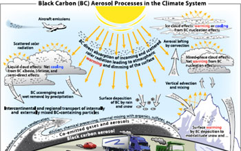 Graphic illustration showing the path to black carbon
