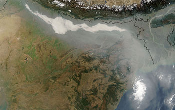 Image showing thick haze and smoke along the Ganges Basin in northern India as seen from outerspace
