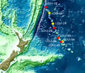 Map showing IODP expedition sampling sites along the Louisville Seamount Trail.