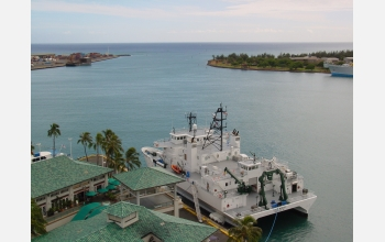 The research vessel Kilo Moana was used to collect microbes in the Pacific Ocean.