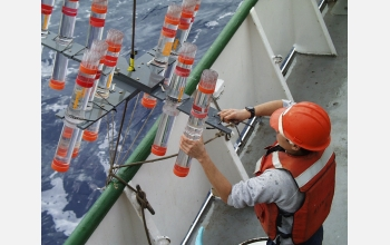 Oceanographic instrumentation like these particle traps were used to collect samples.