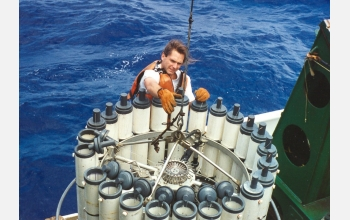 Researchers used water samplers to collect planktonic microbes from the Pacific Ocean.