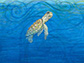 an oil painting of a juvenile sea turtle