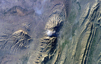 Satellite image of Iran's Zagros Mountains.