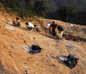 Photo of people working at the excavation site near Lantian village.