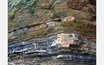 Photo of ancient sediments in Brittany, France.