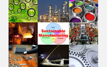 Images and text: Photos of manufacturing with the words Sustainable Manufacturing.