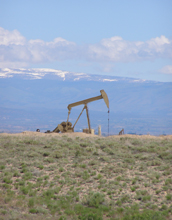 Photo of a pumpjack lifting oil from the Green River Formation in the Uinta Basin in Utah.