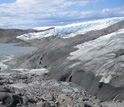 Photo of the rocky margin of the ice sheet in western Greenland.