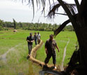 Image of WSC researchers talking about paddy irrigation with a farmer in Sri Lanka.