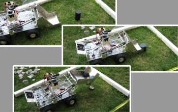 Three photos of SAAST student-built robot picking up a stack of hockey pucks in a sequence.