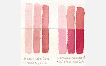 Image showing laboratory replicas of watercolor brushstrokes before and after fading in sunlight.