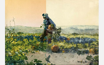 Digital re-creation of For to Be a Farmer's Boy showing sunset before fading, matched to original.