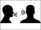Illustration conveying one person speaking and a second person listening.