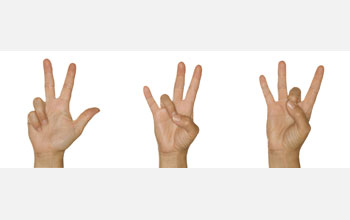 American sign language for three, seven and eight.