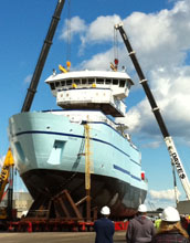 Image of the R/V Sikuliaq under construction.