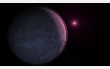 Artist's conception of the newly discovered planet MOA-2007-BLG-192Lb orbiting its star.