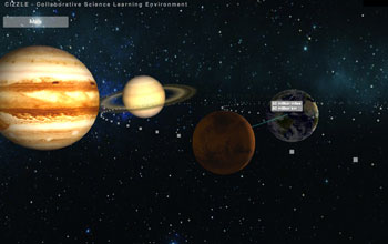 photo of an app showing planets